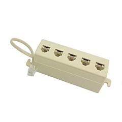 5 voies de sortie 6p4c rj11 rj12 ligne téléphonique de prise modulaire adaptateur séparateur beige 1 à 5 sur