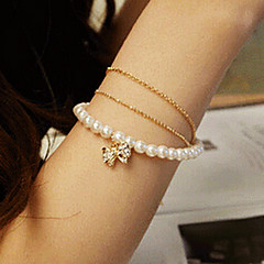 Fashion Sweet Diamanted Bowknot Women's White Imitation Pearl Strand Bracelet(1 Pc)