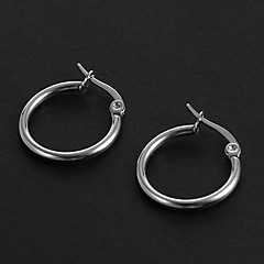 Fashion Simple 1.5CM  Round Shape Silver Stainless Steel Hoop Earrings (1 Pair)