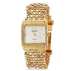Women's Delicate Square Case Diamand Gold Steel Band Quartz Bracelet Watch (Assorted Colors) Cool Watches Unique Watches
