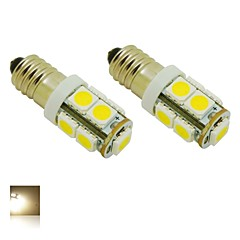 E10 2W 9X5050 SMD 3000K Warm White Lights LED pære til DIY (DC 12V, 2-pack)