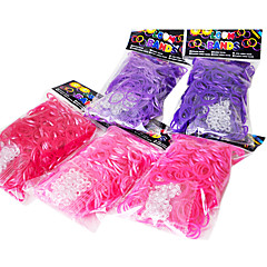 Rainbow Colorful Loom Style DIY Bracelet Material Rubber Band(300 Pcs Bands+12 Pcs C Or S Clips)