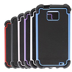 2-i-1 design Hexagon Pattern Hard Case med Silikon Inside Cover för Samsung Galaxy S2 I9100 (blandade färger)