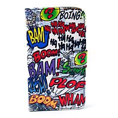 Haha Padrão boom dos desenhos animados PU couro Stand Case com slot para cartão para Samsung Galaxy i9500 S4