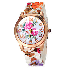 Women's Colorful Flower Pattern Silicone Band Quartz Wrist Watch