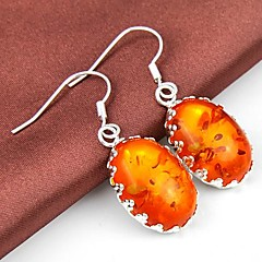 Fashion Amber Gemstone Daily Drop Silver Earrings 1pair