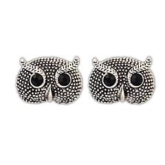Women's European and America Vintage Personality Rhinestone Owl Alloy Stud Earrings (White Black) (1 Pair)
