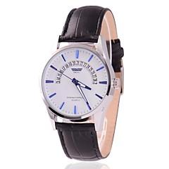メンズビジネススタイル本革日付表示クォーツ腕時計(アソートカラー)