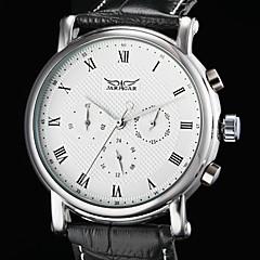auto-męska mechaniczna 6 wskaźniki czarna skóra nadgarstka zegarka zespół