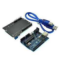 (Para arduino) tablero del desarrollo del microcontrolador UNO con lcd teclado tarjeta de expansión escudo y cable usb
