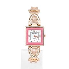 Women's Square Diamond Metal Quartz Analog Bracelet Watch (1Pc)