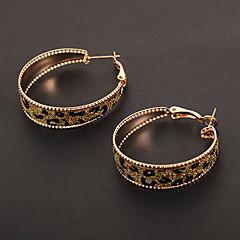 유행 원형 모양 표범 인쇄 황금 후프 귀걸이 (1 쌍)