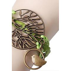 Green Trees With Birds Braided Bracelet