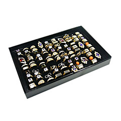 Classic One Hundred Sets Wing Jewelry Cover Stand Multicolor Paper Acrylic Flannelette Jewelry Boxes(1 Pc)(Black,White)