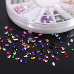 Acryl steentjes wiel nail art decoratie 600pcs 12colours paard oogvorm
