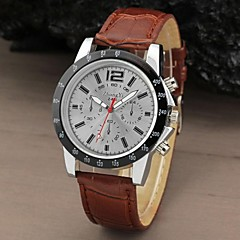 Mænd Sport Runde Dial Leather Band Dress Quartz Analog ur