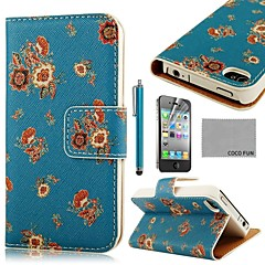 COCO FUN® Flower Dark Blue Pattern PU Leather Full Body Case with Screen Protector, Stand and Stylus for iPhone 4/4S