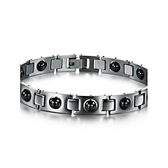 Black Gallstone Anti-fatigue Anti-radiation Titanium Steel Health Care Bracelet for Men