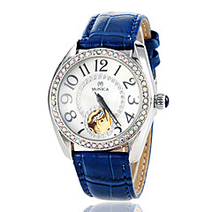 Women's Auto-Mechanical Diamond Case Leather Band Wrist Watch (Assorted Colors)