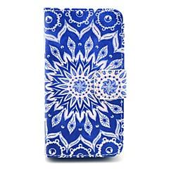 Blue Mandala Pattern PU Leather Full Body Case for iPhone 4/4S
