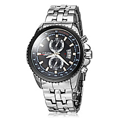 Men's Fashion Hard Case kalender Silver stalen band quartz horloge
