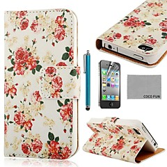 COCO FUN® Rose White Pattern PU Leather Full Body Case with Screen Protector, Stand and Stylus for iPhone 4/4S