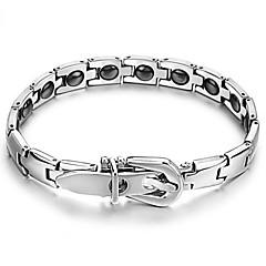 Black Gallstone Anti-fatigue Button Titanium Steel Health Care Bracelet with Both Men and Women