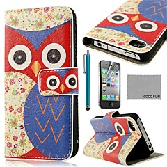 COCO FUN® Blue Flower Owl Pattern PU Leather Full Body Case with Screen Protector, Stand and Stylus for iPhone 4/4S