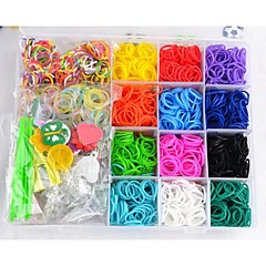 Rainbow Colorful Loom(Including Rubber Band 2400 PCS, S Buckle, Small Pendant,Y Weaving Tools, Crochet)