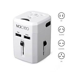 Travel Wall Charger Power Adapter Converter AU/UK/US/EU Plug with Dual USB, Dual Fuses