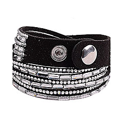 Multilayer Clear Rhinestone Leather Bracelet