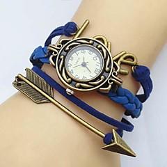 dammode kärleksbrev pilar läder väva band kvarts analoga armband klocka (blandade färger)