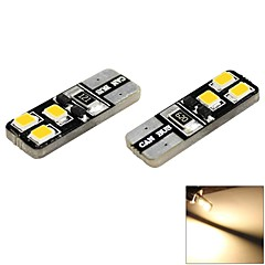 T10 1W 6x2835 SMD LED 60lm 3000K Warm White Light Dome Side Marker Bulb for Car (DC 12V , 2-Pack)