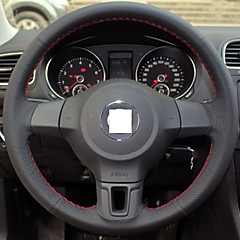 XuJi ™ Black Genuine Leather Steering Wheel Cover for Volkswagen Golf 6 Mk6 VW Polo Sagitar Bora Santana Jetta