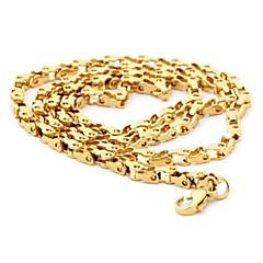 Z&X®  Men's Fashion  Personality Very Long Gradually Gold Titanium Steel Necklaces