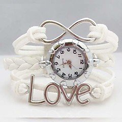 Women's Fashion Love Letter Infinity Leather Weave Band Quartz Analog Bracelet Watch(Assorted Colors)