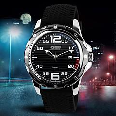 Men's Fashion Style Calendar Black Silicone Band Quartz Wrist Watch(Assorted Colors)