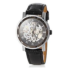 Men's Auto-Mechanical Vintage Hollow Engraving Dial Black Leather Band Wrist Watch Cool Watch Unique Watch