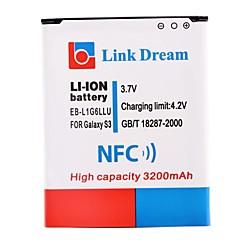 에 대한 NFC와 링크 꿈 3200mah 휴대 전화 배터리 삼성 갤럭시 S3 I9300 SIII S3 (EB-l1g6llu)