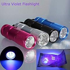 lt-BG uv vedenpitävä 1-tilassa 9 × UV-LED-taskulamppu (385 ~ 400nm 3 × aaa, vaaleanpunainen hopea musta)