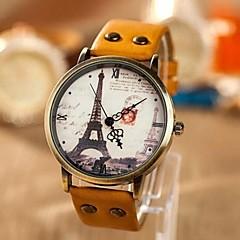 아가씨들 패션 시계 석영 PU 밴드 에펠탑 세계지도 패턴 블루 노란색