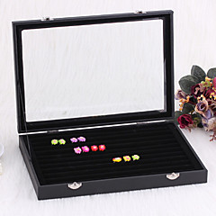 tamaño grande cubierta hermoso anillo clásico soporte negro franela acrílica Papel cajas de joyas (1 pc)