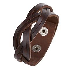 pulseira de couro marrom 20 centímetros clássico dos homens (1 pc)