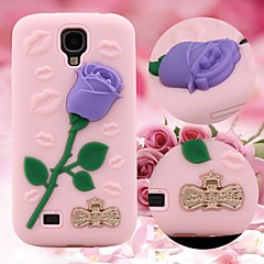 3D Rose Pattern Silicon Rubber Soft Case for Samsung Galaxy S4 i9500