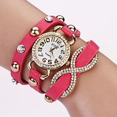 Women's Round Diamond Dial Pu Leather Band Love Bowknot Pendant Quartz Analog Fashion Waist Watch