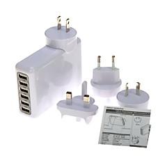 uniwersalny Travel 6 portów USB ładowarka ścienna z premii 4 AC zasilaczy dla iPhone, iPad, smartphone
