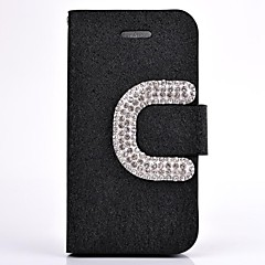 Diamond Camellia PU Leather Wallet Full Body Case with Stand for iPhone 4/4S(Assorted Colors)