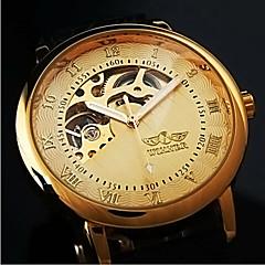 couro mecânica oca relógio de pulso banda de esqueleto do ouro dos homens