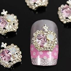 10pcs  Fashion Alloy Pink Crystal Rhinestones Crown  Nail Art Decoration