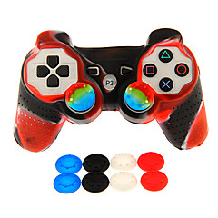 Wired Dual Shock Controller with Silicone Skin Cover & 2pcs Mushrooom Caps for PS3
